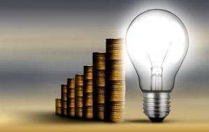 Gold coins & lightbulb
